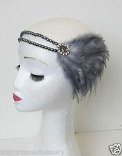 Silver Dark Grey Feather Headpiece 1920s Flapper Pearl Vintage Headband 1930 P55