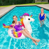 Inflatable Swimming Unicorn Float Ride Design On Pool Sea Fun Summer For Kids