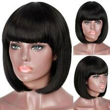 Womens Girl Short Straight Full Wig Bangs Party Natural Hair Wigs Smart Black