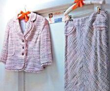 Beautiful! Womens PHOEBE 2 Piece Jacket & Skirt Suit w/ Pretty Bling Buttons Pnk