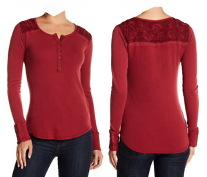 Lucky Brand Women's Tibetan Red Embroidered Yoke Thermal Top Shirt NEW Tags XS