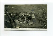 Westminster MD 1945 postcard, aerial, Western Maryland College, Campus, roads