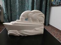 Skulptur Dampfschiff, Art Deko, Frankreich 30er Jahre, signiert Charles Lemancea