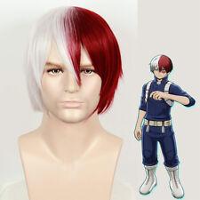My Hero Academia Todoroki Shoto Wig Silver Grey Red Cosplay Costume Halloween