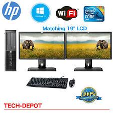 "HP Desktop PC Computer Core 2 Duo 4GB HD DUAL 19"" LCD Monitor Windows 10"