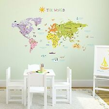 World Map Wall Sticker Decal Decoration Geographic Education School Country Kids