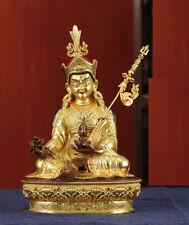 8'' Nepal tibet bronze copper gold buddhism GURU Lotus health padmasambhava