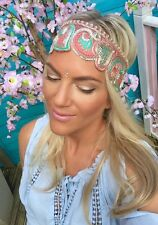 Gold Peach Pink Green Wide Thick Hair Head Band Choochie Turban Hippy Bohemian