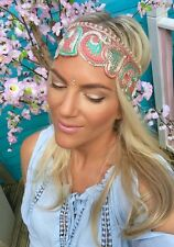 PESCA in Oro Rosa Verde Wide Thick capelli Head Band Choochie Turbante Stile Hippy Bohemien