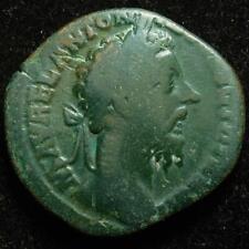 Marcus Aurelius AE sestertius, r. Felicitas with caduceus & sceptre, Rome 178AD