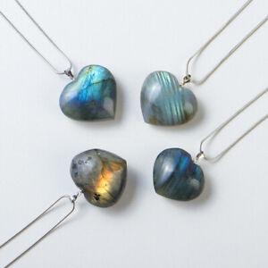 Heart Pendant Labradorite Necklace Gem Moonstone Stone Crystal Quartz Healing