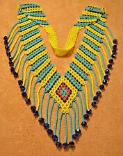 Handmade Ceremony Necklace Yellow Green Glass Seed Bead Fringe Beadwork Colombia