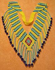 Yellow & Green Glass Seed Bead Handmade Necklace W Dangles, Beadwork, Colombia