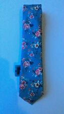 Mens Tie - Next 100% Polyester: Grey/Blue with Pink Floral Pattern BNWT