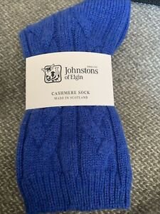 Johnstons of Elgin Cable Check Bed Soft Socks Pure Cashmere soft Blue