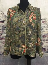 CATHY CHE Long Sleeve Green Brown Red Career Blouse Shirt Button Front Large #V