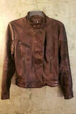 Free People Leather Fitted Metallic Copper Moto Jacket/Coat Sz M (6-8)