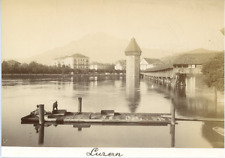 Schweiz, Luzern, Panorama  Vintage albumen print. Switzerland  Tirage albuminé