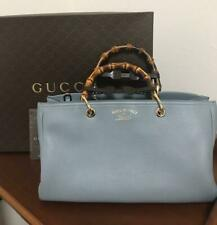a4d16891a41a GUCCI BAMBOO BAG FLORA HAND WOMEN LIGHT BLUE 50TH ANNIVERSARY RARE  AUTHENTIC F/S