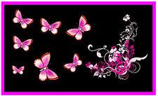 PINK / BLACK BUTTERFLY & FLOWERS CAR / WINDOW INSIDE STICKER -  NEW - GIFT