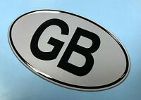 GB Oval 100mm x 58mm Sticker/Decal - Retro - BLACK on SILVER - GLOSS DOMED GEL