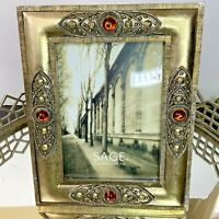 Picture Frame Rhinestone Embellished Hollywood Regency 5 X 7 #EL1
