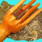 Nepal Tibetan Red Coral Stone Ethnic Boho Gypsy Brass Adjustable Ring