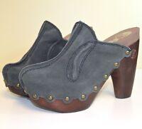 NIB Flogg Womens Diana Suede Heels Clogs Mules in Grey X1026 MSRP $150