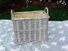 SMALL ANTIQUE WASH WICKER RECTANGULAR LINED LOG/STORAGE BASKETS  GORGEOUS