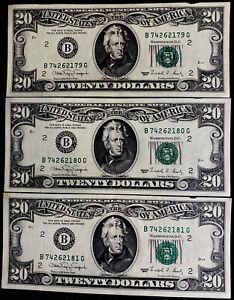 THREE - 1990 FRN $20 Twenty Dollars Bills - New York - UNC - Consecutive Number