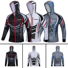 Mens Fishing Sunscreen Shirt Quick Dry Breathable Long Sleeve Jersey Hooded Tops