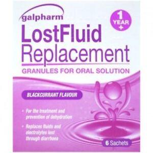 Pack of 3, Lost Fluid 18 Satchets Blackcurrant Dehydration Electrolyte Diarrhoea