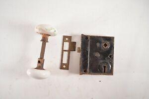 Antique Mortise Door Skeleton Lock Box Latch Porcelain Knobs Spindle