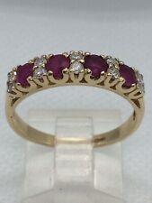 9ct Gold Ruby & Diamond  Ring U.K Hallmark Size Q