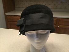 Ladies Vintage Hat Peachbloom Velour Black W/ Grosgrain Black Ribbon & Bow Used