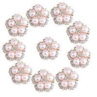 10 X  Perle Strass Flatback Buttons Verschönerung DIY Bridal Craft