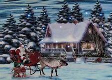 """Cottage Scene Canvas LED Lit Home Decor 9"""" W 6"""" H Winter or Christmas Gift"""