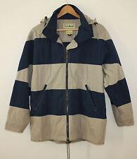 LL Bean Vintage Nautical Sailor Jacket Stowable Hood Color Block Womens Medium