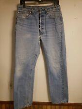 "vintage levis 501 button fly denim jeans shrink to fit original 34 32 w 30"" l"