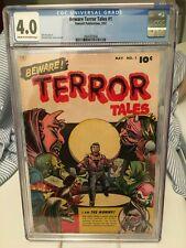 BEWARE TERROR TALES #1 CGC 4.0 PRE-CODE GOLDEN AGE HORROR TITLE FAWCETT PUB 1952