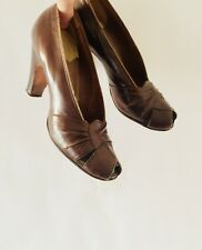 Vtg Late 30's early 40's Pandora Peep Toe Chocolate Brown Heels Sz 6?