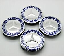 """4 PCS Blue Wheel Center Caps For Mercedes Benz 75MM 3"""" Emblem Rim Fits All Benz!"""