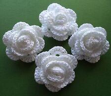 WHITE CROCHET FLOWERS CRAFTS/APPLIQUE/WEDDING BOUQUET/POSY/BRIDESMAID COTTON