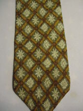 Gap Gray Gold Tan Checker Floral Designs Silk Tie 58""