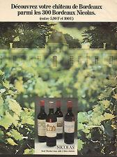 Publicité Advertising 1971  Les Bordeaux NICOLAS  vin rouge