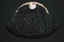 """RARE VINTAGE 1940'S BLACK JOSEF HAND BEADED PURSE COLOR BEADED FRAME 8"""" BY 6"""""""