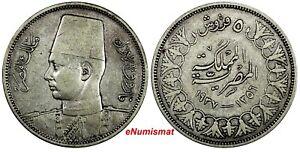 EGYPT Farouk (1936-1952) Silver AH1356 / 1937 5 Piastres  VF KM# 366 (18 851)