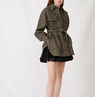 MAJE Belted Check Print Coat Size M Orig. $595 NWT