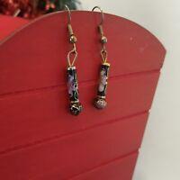 Cloisonne' Hook Dangle Earrings Cylinder Gold Tone