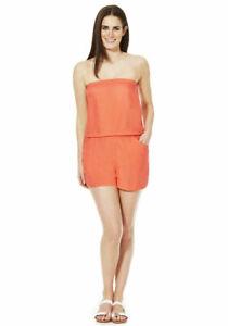 NEW Ladies Bandeau Beach Playsuit Shorts Cover-up Colour Coral Sizes 8 ,10